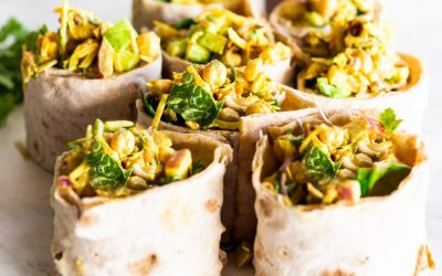 Curry Chickpea Salad Wraps with Toasted Coconut